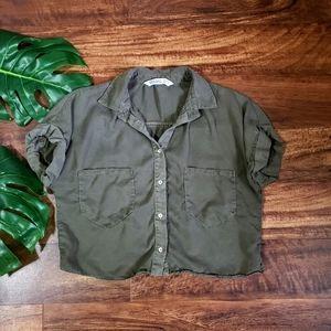Zara Basic Denim Button Down Crop